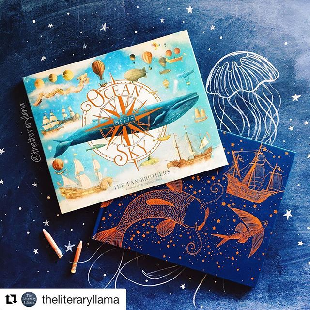 #Repost @theliteraryllama with @get_repost ・・・ Before my nephew was born, I found a children's book called The Night Gardner by The Fan Brothers, and fell in love with it. If you're a book lover like me, the age guidelines don't matter to you so much, you want to find something beautiful and meaningful that speaks as much to you as it will to your youngin. So I didn't care that the book was suggested for ages 4+, I was jumping into that book with August as soon as I could hold him in my arms, because it was that perfect. 💙 • And now August has just turned 1 and I discovered a new book by The Fan Brothers, OCEAN MEETS SKY... and oh my word, I have fallen in love all over again! The story has so much whimsy and heart... and then the illustrations and binding is just out of this world gorgeous. I mean, look at it! The foiling on the naked cover and the depth of detail in the illustrations... I'm going to buy this book again and again to give as gifts. 💙 • I have some live videos of the book in my Story Highlights, just click on Book Recs. And/or you can click the link in my bio to learn more about OCEAN MEETS SKY. I can't recommend it enough. It's a gorgeous addition to anyone's library, young or old. 💙 • SYNOPSIS:  Finn lives by the sea and the sea lives by him. Every time he looks out his window it's a constant reminder of the stories his grandfather told him about the place where the ocean meets the sky. Where whales and jellyfish soar and birds and castles float. . Finn's grandfather is gone now but Finn knows the perfect way to honor him. He'll build his own ship and sail out to find this magical place himself! . And when he arrives, maybe, just maybe, he'll find something he didn't know he was looking for. 💙 • • • #oceanmeetssky #thenightgardner #thefanbrothers #childrenslit #kidlit #picturebook #bookrec #bookrecommendation #booklover #foiling #gold #gorgeous #inlove