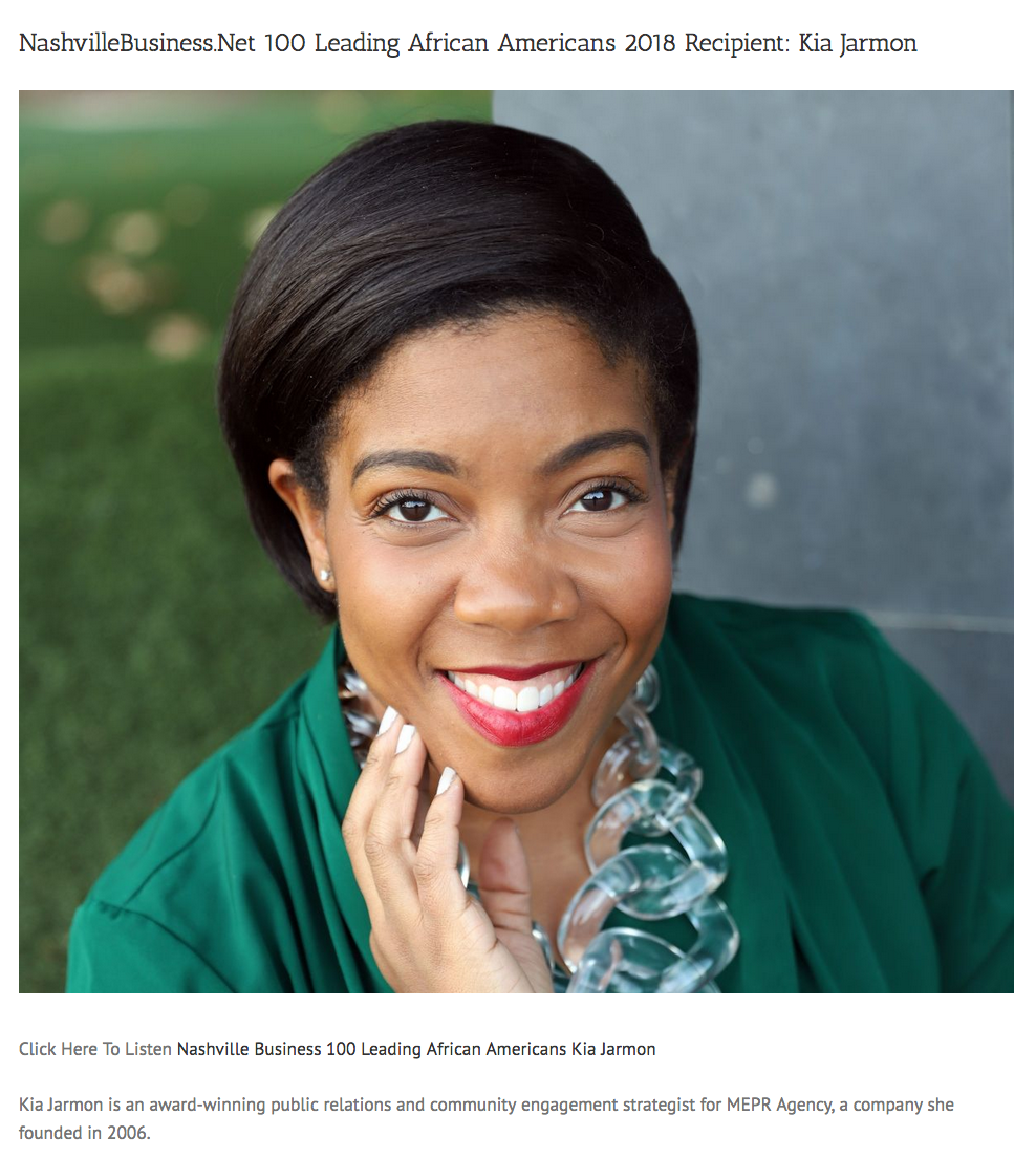 {DrAlvin.com} - Kia Jarmon is named as a recipient of the 100 Leading African Americans in 2018.
