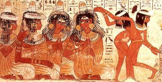 In Egypt, priestesses performed ritual dances which mimed significant events in the story of a god/goddess, they imitated stories of the stars & cosmic creation myths. The Afterlife is a major theme of Egyptian religion & much of ones life was spent preparing for reincarnation.  At Egyptian funerals, women danced to express the grief of the mourners. The Egyptian temple dancers had various initiations to become a temple keeper, many of whom were devoted to the Temple of the goddesses Isis & Hathor.