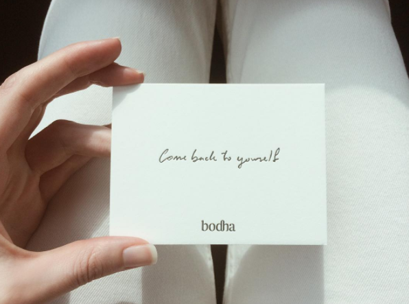 Phrase connected to Emily's company, Bodha, 'Come Back to Yourself' [image @bodhamodernwellness]