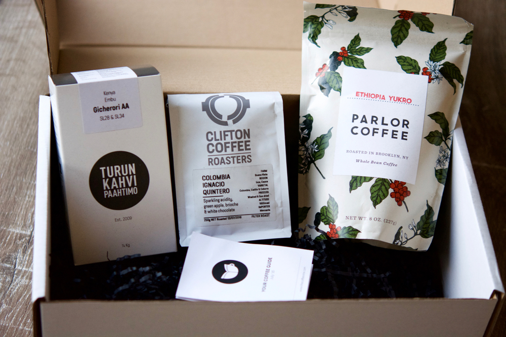 My July Coffee Box arrived by post, beautifully presented. All three coffees are amazing.
