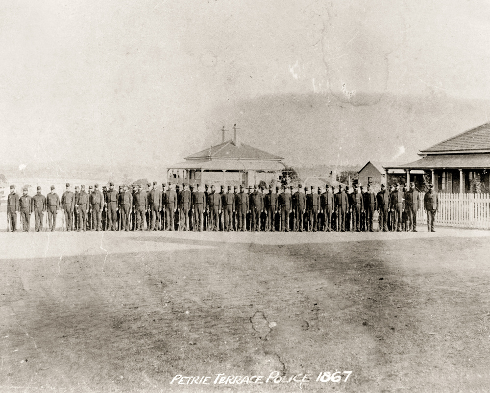 "Police parade ""Under Arms"" at Petrie Terrace Police Depot, Brisbane, 1867 (QP Museum)"