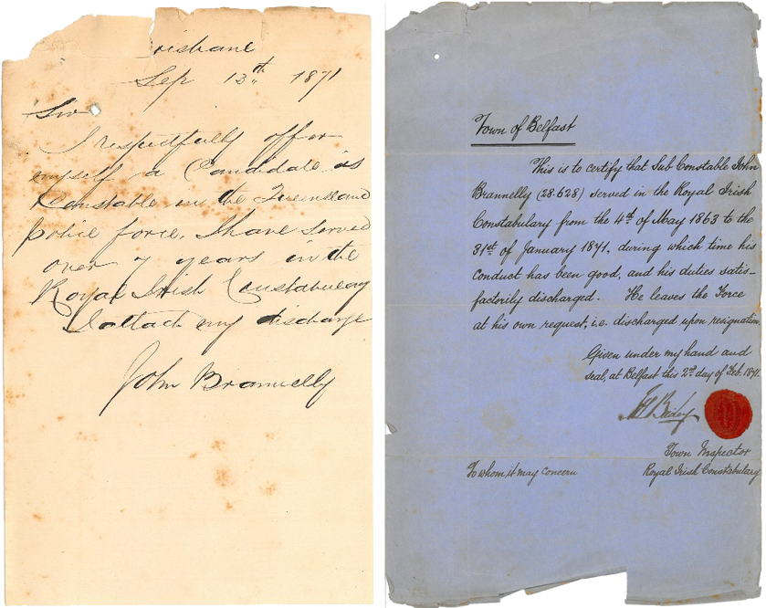 John Brannelly (Registered Number 296) handwritten application letter and the Royal Irish Constabulary character reference, 1871. Source: Queensland Police Museum
