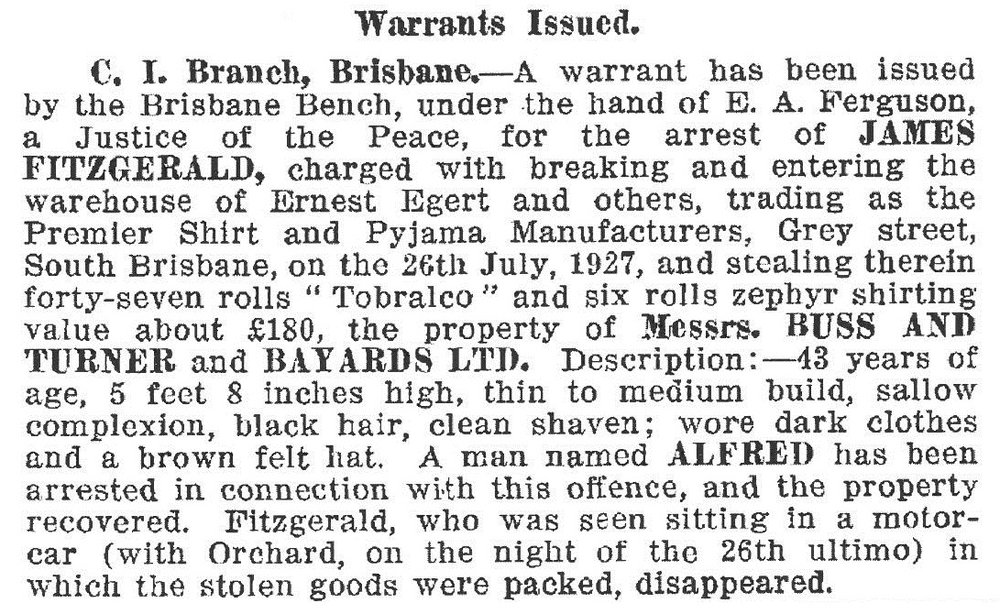 Warrants Issued, Queensland Police Gazette, 1927.