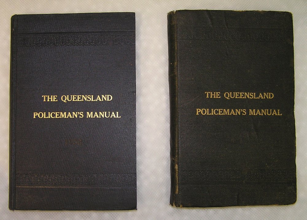 The 1914 Queensland Policeman's Manual was first printed on 12 May that year, and came in navy or black. Image Courtesy of the Queensland Police Museum.
