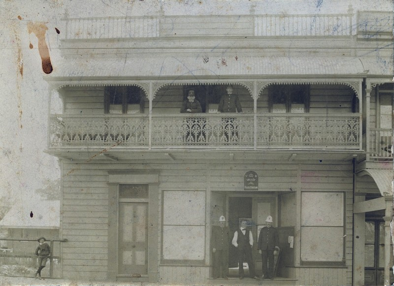 Police officers and civilians at Fortitude Valley Police Station; 1880; PM1871  http://trove.nla.gov.au/work/197772347?q&versionId=216544257