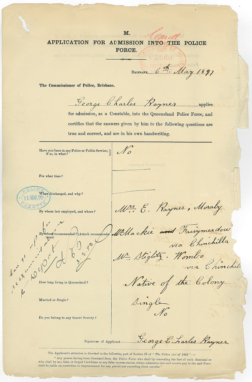 Application For Admission Into The Police Force, submitted by George Rayner on May 6, 1897.