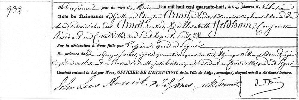 Guillaume Edington Armit Birth Certificate. Source: Décès 1847, Naissances, Mariages 1848, Civil Registration, Liege, Belgium.