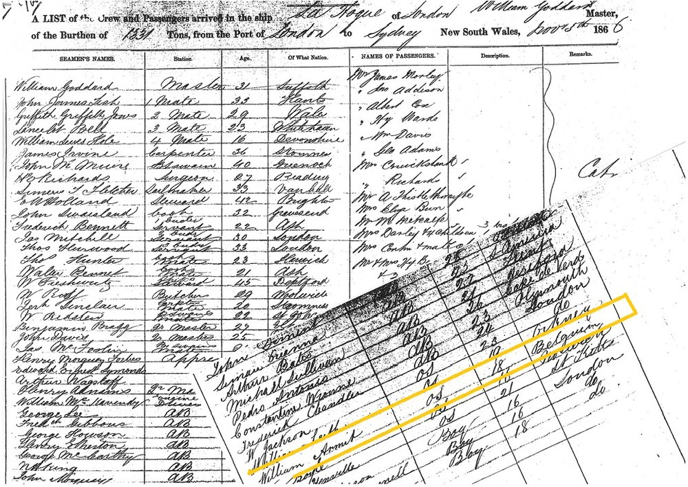 A list of the crew and passengers arrived on the ship La Hoge of London, from the port of London to Sydney, NSW, 5 November 1866. Source: State Records Authority of New South Wales: Shipping Master's Office; Passengers Arriving 1855 – 1922; NRS13278, [X114-115] reel 417