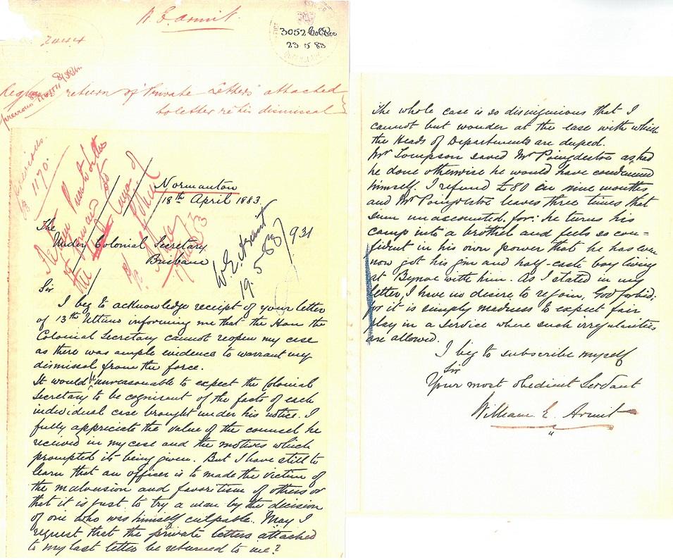 Armit correspondence. 18 April 1883, Normanton. Source: QSA A/38710 1883/3052