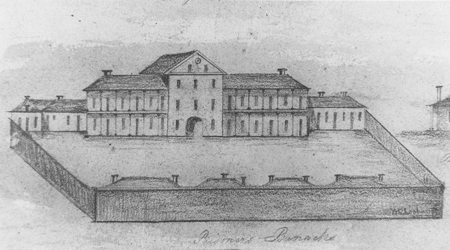 Detail from a sheet of pencil drawings of public buildings at Moreton Bay, September 1832. Original drawings held in the Mitchell Library, Sydney, New South Wales. Attributed to Sockering. Reproduced in J. G. Steele's Brisbane Town in Convict Days, plate 80.  State Library of Queensland.