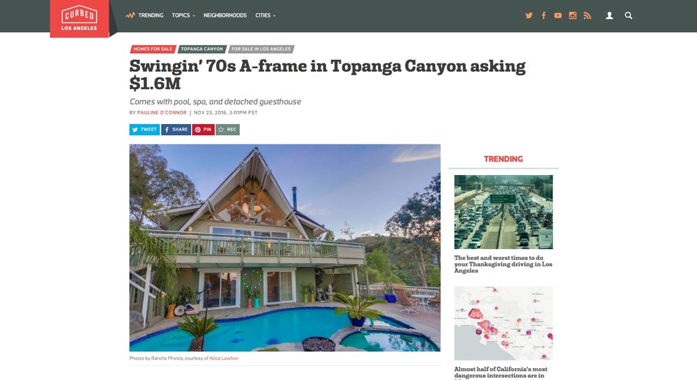 Swingin' 70s A-frame in Topanga Canyon asking $1.6M (Curbed LA)