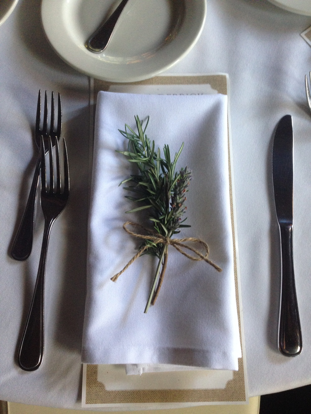 Hand tied rosemary and lavender napkin accents
