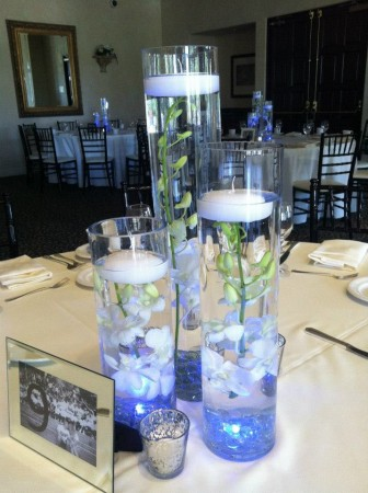 "12"", 16"" & 20"" Cylindrical Vases w/ Floating Candles -- $5 each"