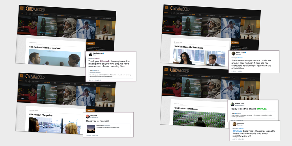 Feedback from Ava DuVernay, Aaron Korsh and others on  Cinemacked .