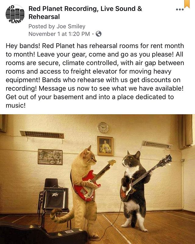 www.redplanetrecording.com. Message us if you want a room!