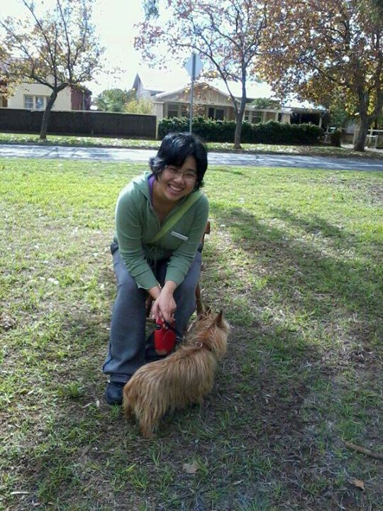 Me and Tessie, a friend's dog, in Colonel Light Gardens, Adelaide in 2014.