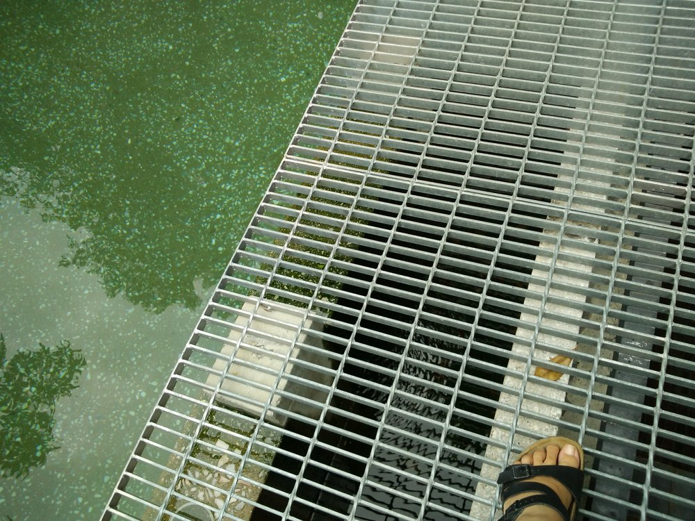 I was really nervous walking on the grates next to the pool.