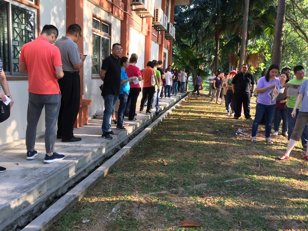 Not a grumble from these voters as the queued patiently, waiting for their turn.