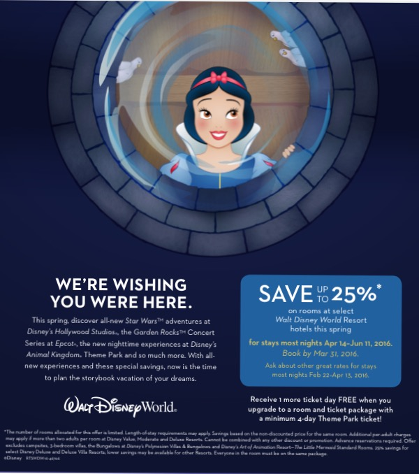 Up to 25% off Disney Trips April 14-June 11, 2016 through EnjoyVacationing.com