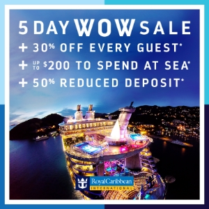 Royal Caribbean 5 Day Wow Sale from info@EnjoyVacationing.com. Call today!