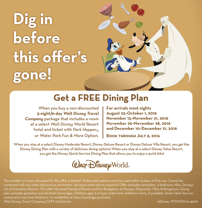 Free Disney Dining plan select dates and packages!