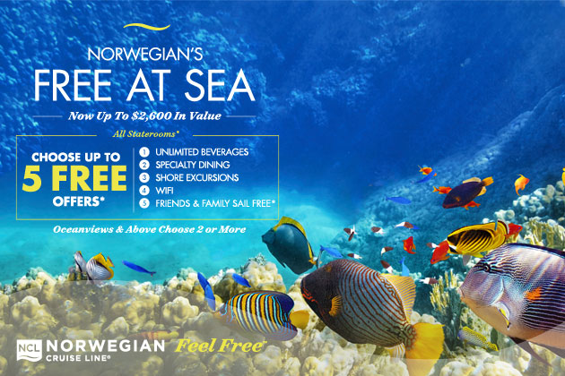 Norwegian's Free at Sea Deal for Summer 2016 is available through EnjoyVacationing.com