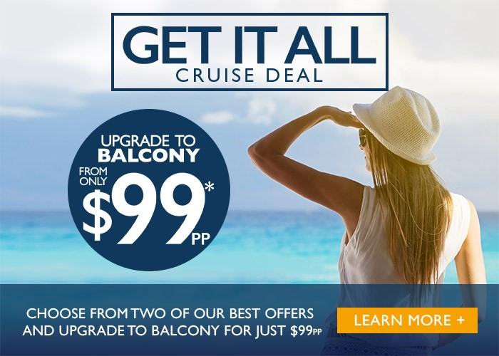 Balcony upgrades starting at $99 per person. Contact Enjoy Vacationing for more information!