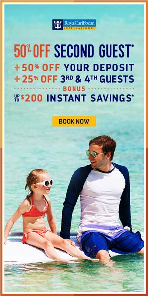 Royal Caribbean BOGO 50% plus instant bonus savings - from EnjoyVacationing.com
