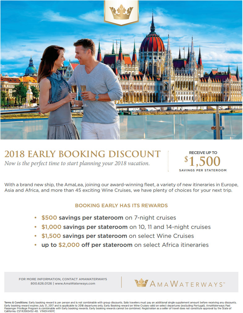 Book your 2018 River cruise early and save up to $1500 per stateroom!
