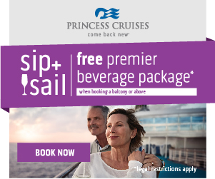 Free beverage package on select Princess cruises from EnjoyVacationing.com