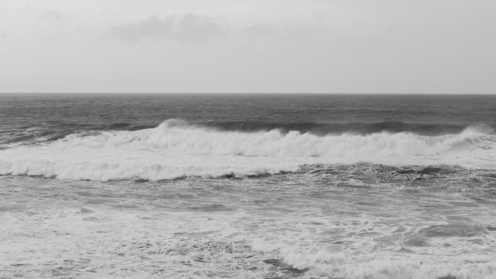 The wind whipping up the swell at Godrevy
