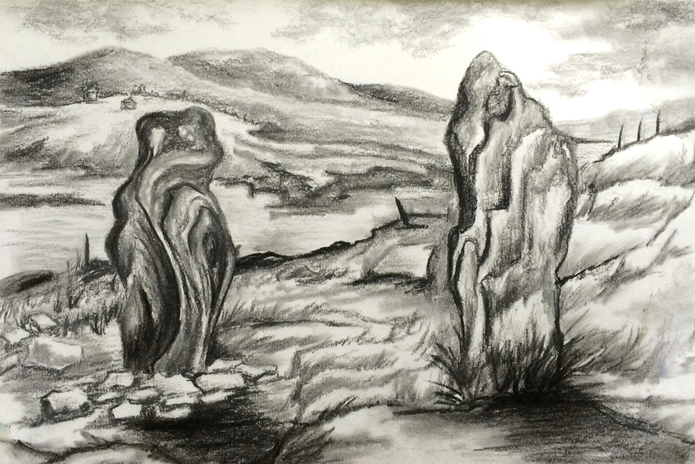 Standing Stones - charcoal