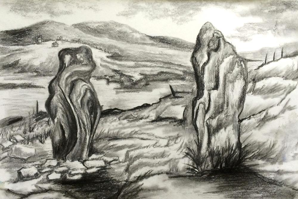 Standing Stones - charcoal