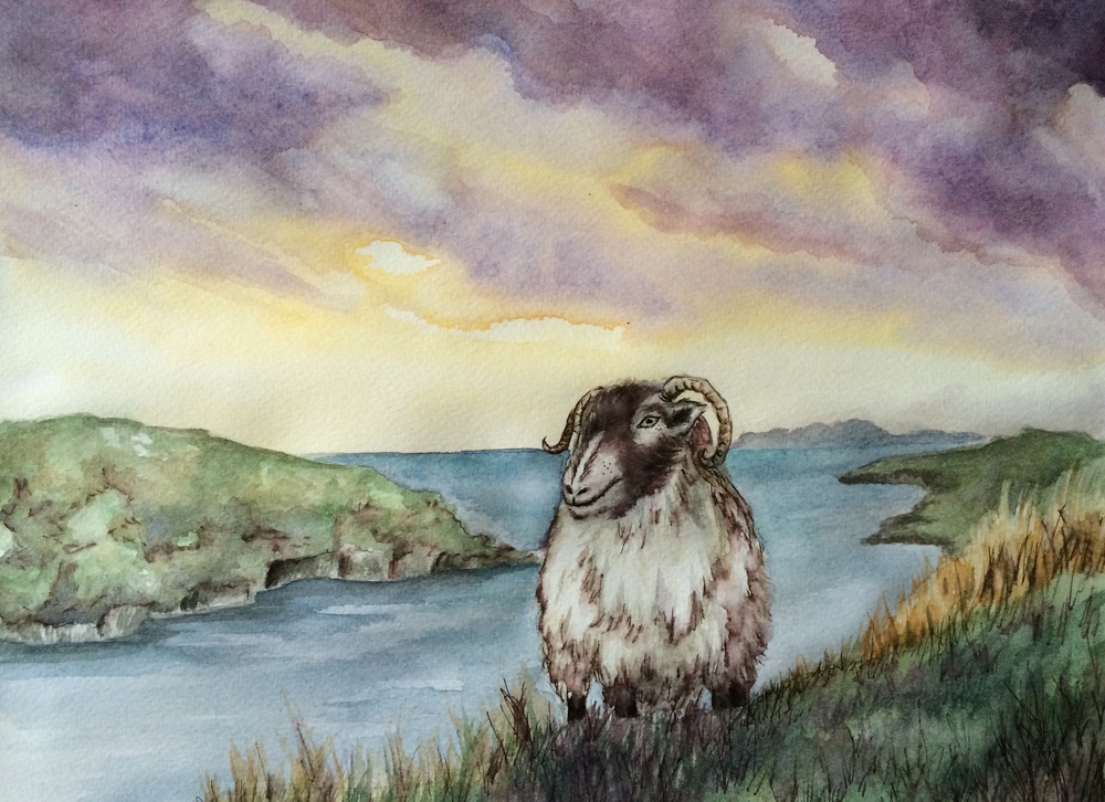 Friendly Folk Of Harris - Watercolour and Ink