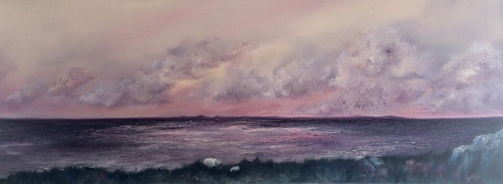 Paintbox Sunset On Lundy, Oil On Canvas