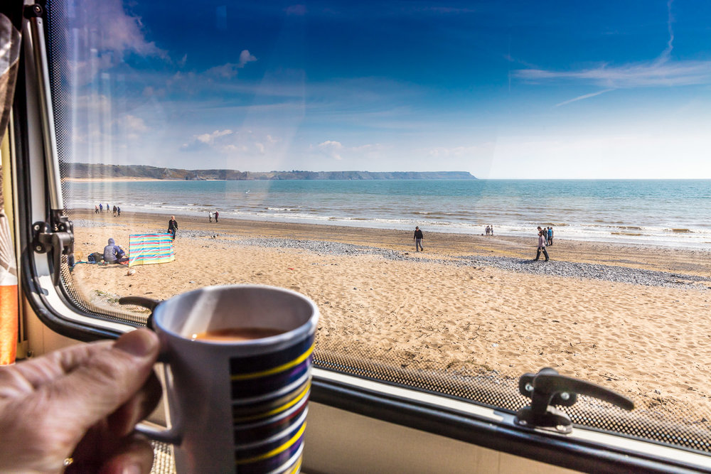Enjoying a cuppa on the beach...