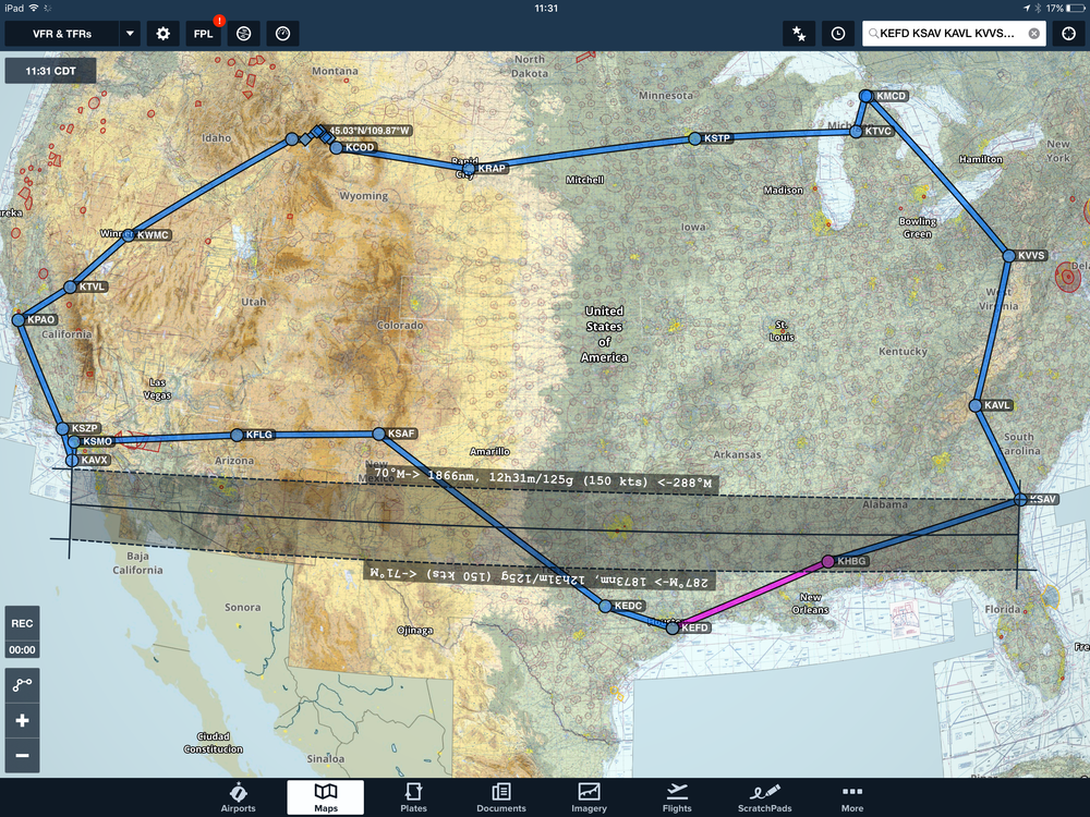 Final Flight Path and Route: KEFD KSAV KAVL KVVS KMCD 83D KTVC KSTP KCOD 44.81667N/109.4109W 44.8448N/109.61594W 45.03058N/109.86752W 44.99908N/110.03268W 44.71023N/110.5063W KWYS KWMC KTVL KPAO KSZP KAVX KSMO KFLG KSAF KEDC KEFD