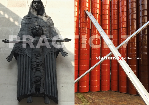 Left.   Madonna and Child   by Jacob Epstein, 1950-52  Right.   Stations   by Roland Biermann, 2016.