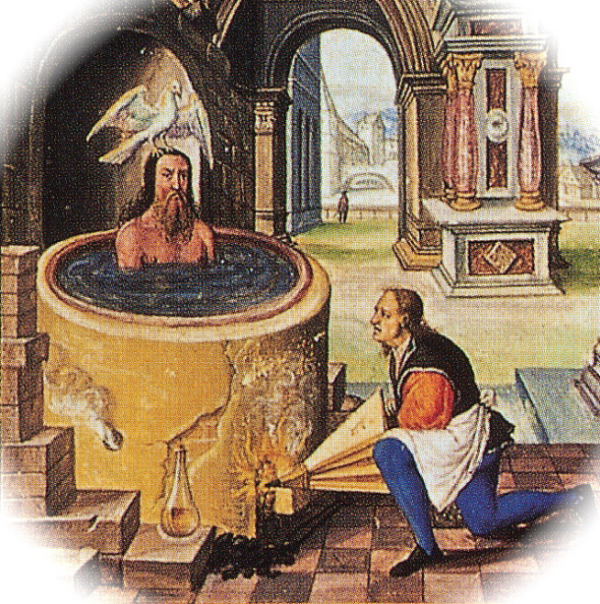 """The Seventh Parable,  The SPLENDOUR SOLIS  (Splendour of the Sun)   Extract from Plate X1.   An alchemical treatise (1532-1535) allegedly written by Salomon Trismsin the teacher of Paracelsus. The set of 22  ornate  images show the symbolic process of the alchemical death and rebirth of the king, and incorporates seven flasks, each one associated with one of the planets. The title of this plate is  """"Boiling the body in the vessel""""...  mmm more research required."""