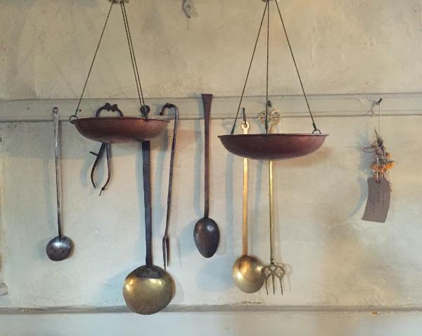 Kitchen Utensils  Brass, copper, pewter, forged iron.