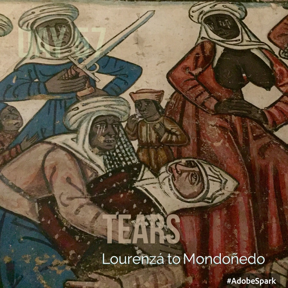 Part of the wall paintings show Moors weeping over a Christian knight. I'm intrigued.