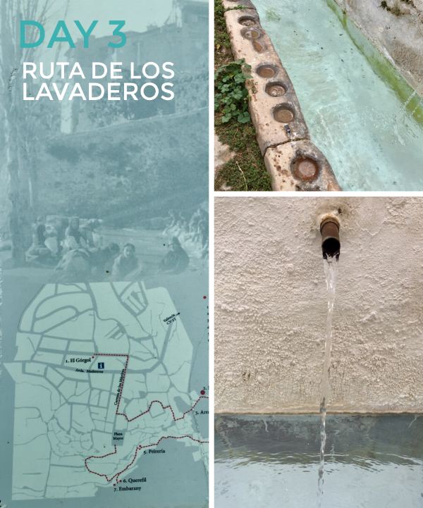 The Ruta de los Lavaderos meanders around the town. The washing places are all fed by different springs. The circular marks we're to hold jars.