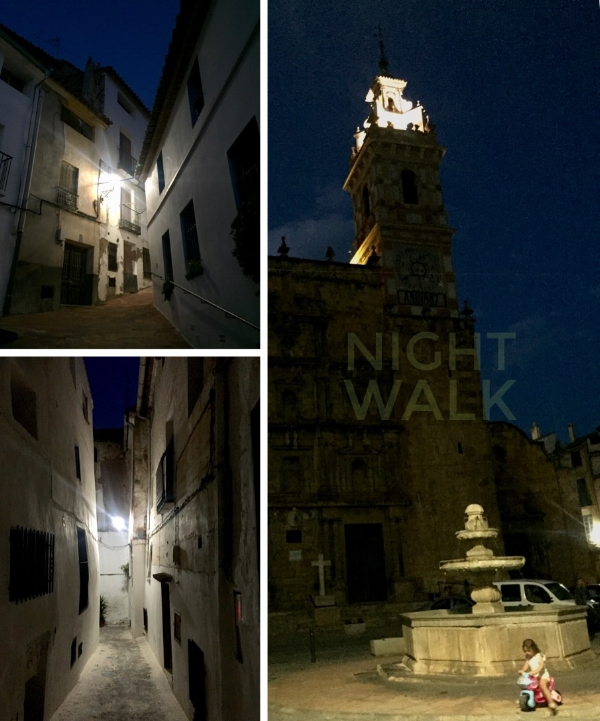 A warm evening to explore the town after dark. Neighbours sit out in the streets and children play in the Town Square.