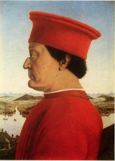 Piero della Francesca (1416/17 - 1492). The Duke and Duchess of Urbino Federico da Montefeltro and Battista Sforza (detail), 1473-75. Oil on wood. Florence: The Uffizi, Inv. 1890 nn. 1615, 3342. Source: The Uffizi