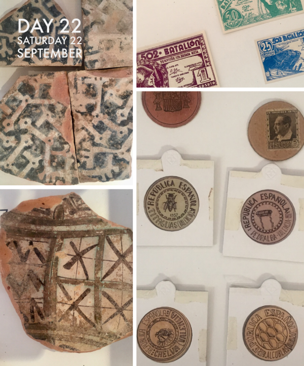 Two pieces of Arab influenced pottery caught my eye. The images on the right are token money used during the Civil War.