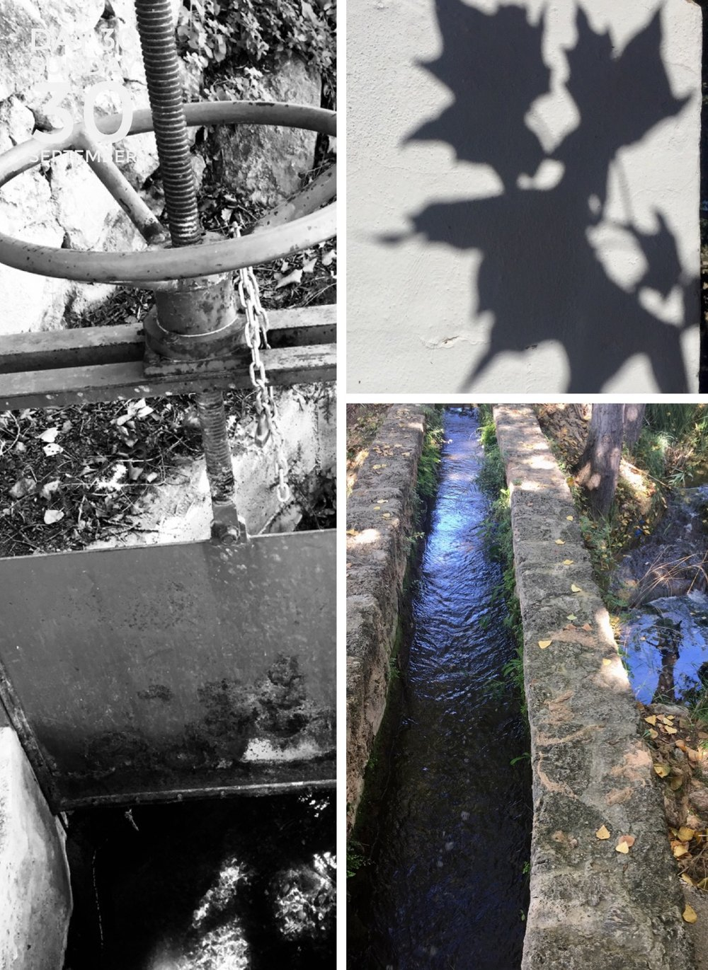 """El Fuente de """"La Gitana""""; sluicegate, channel and shadows."""