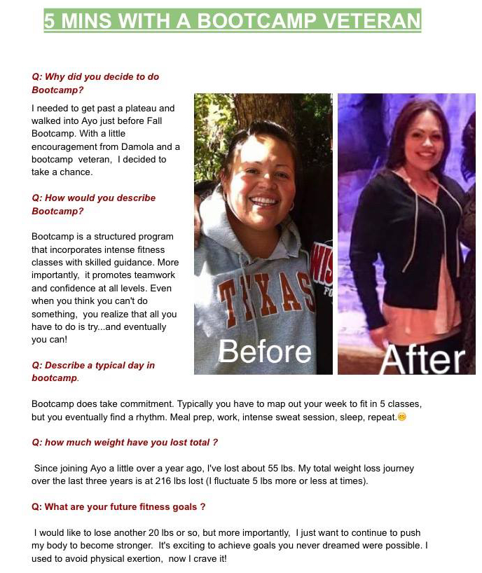 Vanessa Sotelo has been in ayo fitness bootcamp program for 1.5 years. She has also PARTICIPATED in ayo fitness warrior camp &  the hercules fitness challenge. She's a quiet storm ... quiet but powerful. Vanessa is a TESTAMENT to what hard work and dedication can achieve! We are proud of you Vanessa!