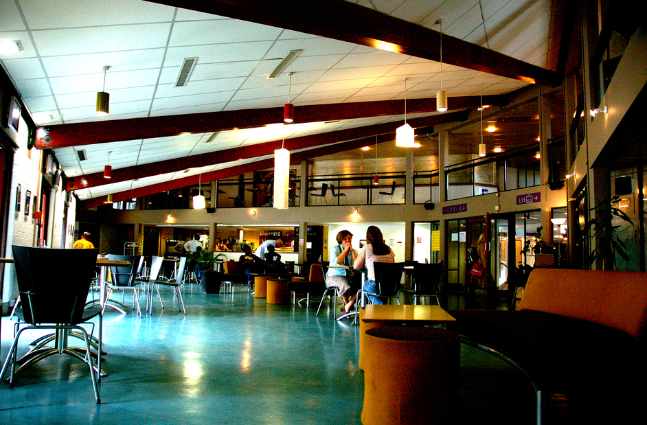 The Albany's cafe, image shows a bright space with tables and chairs. There are high ceilings and large windows.  Source: The Albany