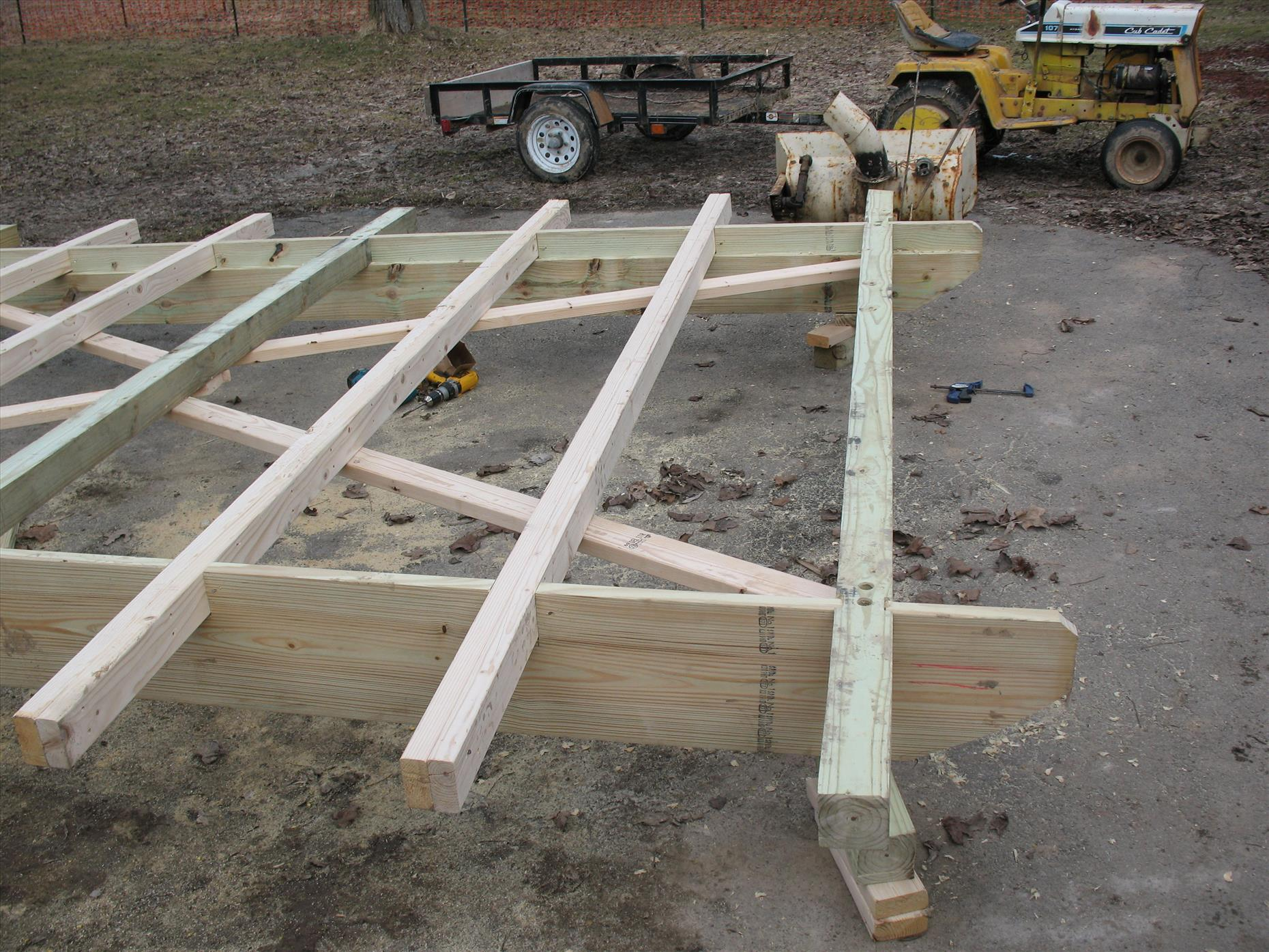 Half of the completed base--with skids, floor joists, and cross bracing.